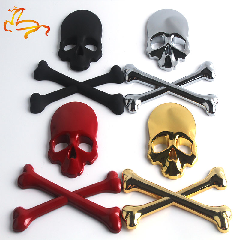 3D Metal Skull Skeleton Crossbones Car Motorcycle Sticker Truck Label Emblem Badge Car Styling Decoration Accessories Стикер