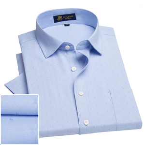 Image 3 - Summer turndown collar short sleeve oxford fabric soft print business men smart casual shirts with chest pocket S 4xl 8color