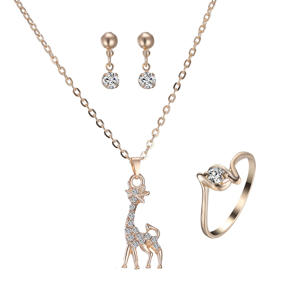 Simple Giraffe Animal Necklace Bijoux Set Gold Jewelry Rhinestone Necklace  Earring Ring Jewelry Sets For Girlfriend