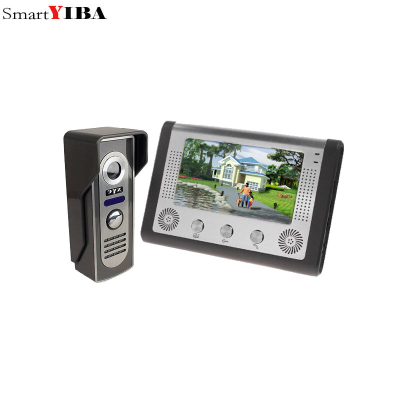 SmartYIBA 7 Inch Video Door Phone Doorbell Intercom Kit 1-camera 1-monitor Night Vision 7 inch video door phone doorbell intercom kit 1 camera 1 monitor