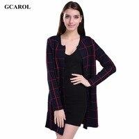 Women New Arrival Plaid Design Long Cardigan Open Stitch Loose Fashion Summer Spring Autumn Knitting Coat