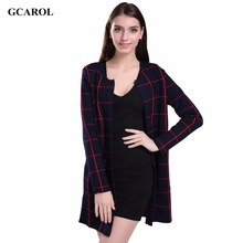 Women New Arrival Plaid Design Long Cardigan Open Stitch Slim Spring Autumn Winter Knitting Coat Knitwear Sweater(China)