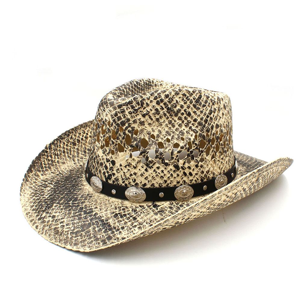 Fashion Women Men Western Cowboy Hat Handmade Weave Straw Dad Sombrero Hombre Cowgirl Jazz Caps Punk Belt Band Size 56-58CM