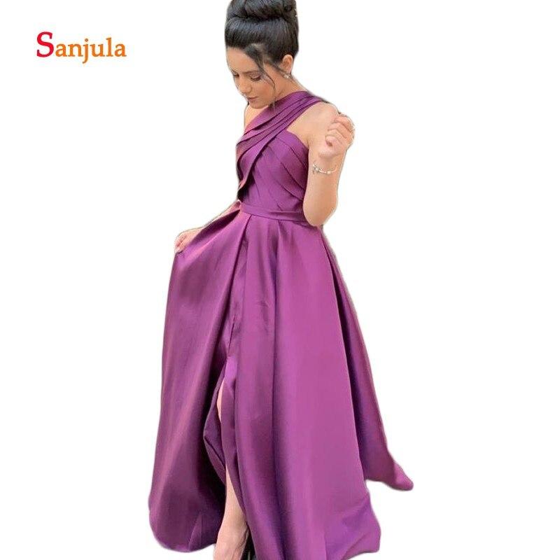 Вечерние платья с разрезом спереди, фиолетовые атласные плиссированные платья, Простые Вечерние платья, длинная юбка с карманами D753