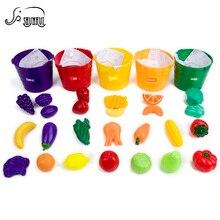 Миниатюрный моделирования Еда Кухня набор игрушек Цвет распознавания пять сортировки Вёдра дети Косплэй обучения Игрушечные лошадки для детей 30 шт.