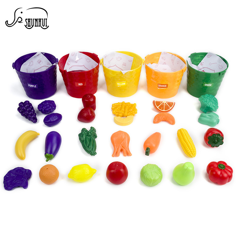 Miniature Simulation Food Kitchen Set Toy Five Sorting Buckets Kids Color Recognition Cosplay Learning Toys for