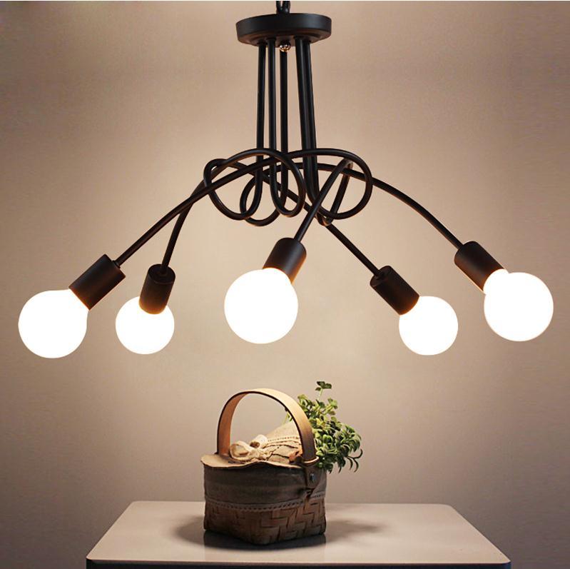 Long Dining Room Chandeliers: 5 Head Pendant Lights The Long Dining Room Lighting Retro