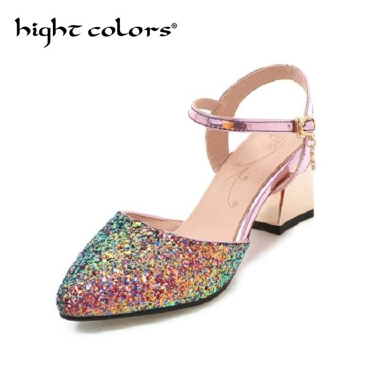 2018 Women Pumps Sequins Bling Bling Sweet Shoes Thick Heels Pointed Toe Elegant Ankle Strap Women Sandals Size 34-43