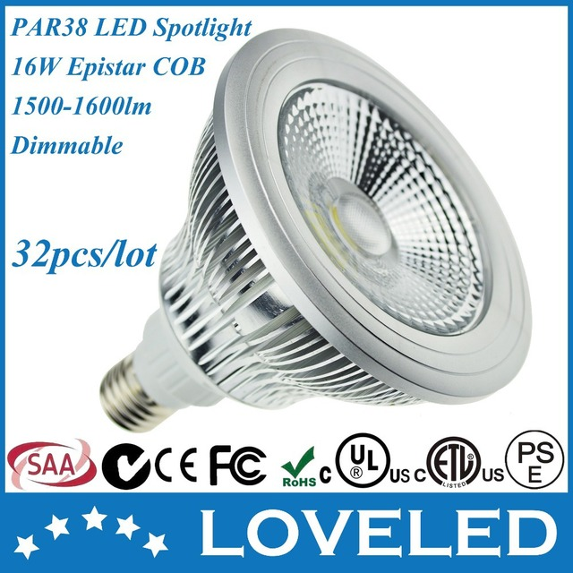 160w Equivalent Narrow Beam Angle Dimmable Cob E27 E26 Par 38 Led Spotlight Bulb 16 Watt Cool White 6000k Free Fedex 32pcs