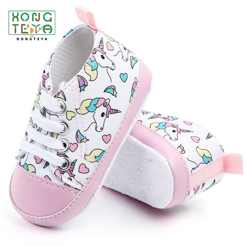 Newborn First Walkers Crib Shoe Pink Unicorn Soft Anti-Slip Sole Unisex Toddler Casual Canvas Baby Infant Boy Girl Shoes