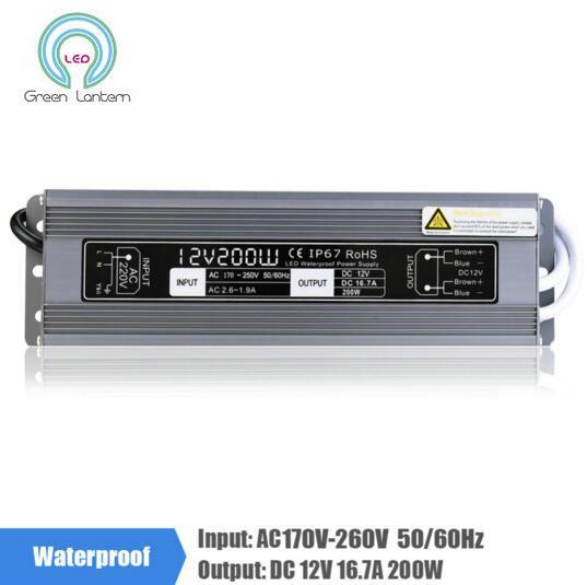 12V 16.7A 200W 170-260V Lighting Transformer, Aluminum IP67 Waterproof LED driver Power Supply Adapter for LED Strip Lights 200w waterproof transformer ip67 ac110v