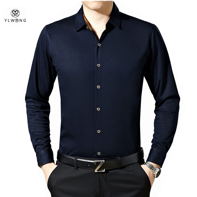 Effen Rood Overhemd Heren.Ylwong Effen Overhemd Mannen Volledige Mouw Katoenen Slim Fit Luxe
