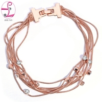 ZHE FAN Multilayer Bracelet Rhinestones Snake Chain Rhodium Rose Gold Color Plating Fahion Jewelry For Women