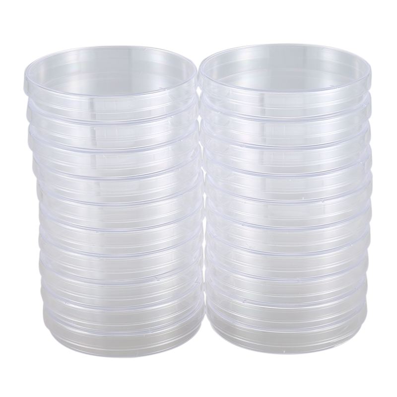 20 Pack Sterile Plastic Petri Dishes, 100mm Dia X 15mm Deep, With Lid