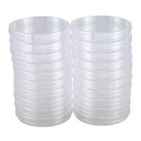 20 placas de petri plásticas estéreis do bloco  diâmetro de 100mm x 15mm de profundidade  com tampa