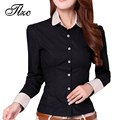 Clothing coreano carreira senhora do escritório de moda camisas de algodão tamanho s-2xl charme mulheres de manga longa blusas casuais