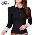 Korean Career Clothing Office Lady Cotton Fashion Shirts Size S-2XL Charm Women Long Sleeve Casual Blouses
