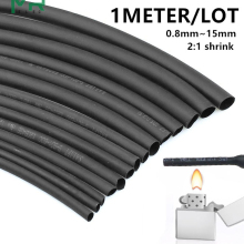 1 м/лот 2:1 черный 0,8 мм~ 10 мм полиолефин кабельные рукава электронный компонент DIY разъем ремонт термоусадочная трубка