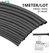 1 METER/LOT 2:1 Black 0.8mm~10mm Polyolefin Cable Sleeves Electronic component DIY Connector Repair heat shrink tube