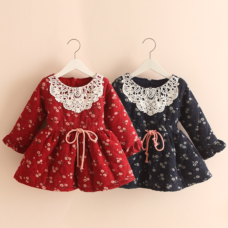 qz-2150 2017 winter Korean version of the new children's clothing baby child grid children plus thick velvet dress baby lace princess dress girls summer 2017 korean version of the new kids children gauze qz 3305