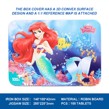 Disney Cartoon Puzzles New Gifts 100 Mermaid Princess Tin Box Wooden Puzzle Children Early Educational Building Puzzle Toys 2425