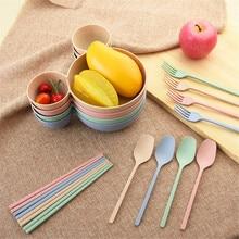 4 Parts/set Creative Children Cutlery Food Cartoon Dishes Wheat Straw Baby Bowl Dinnerware Set Broken-resistant Dining Plate set