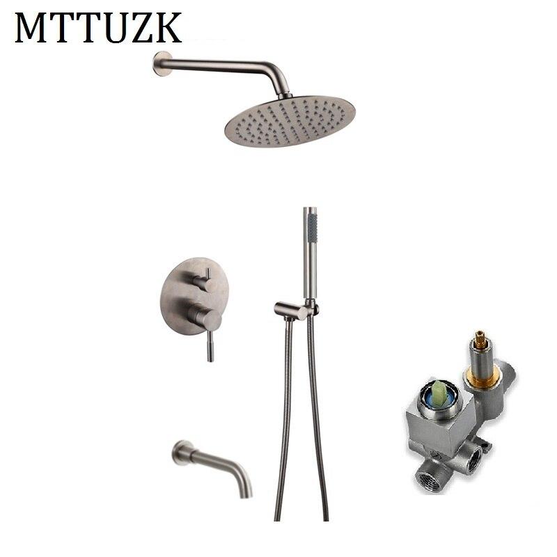 MTTUZK 3 voies sortie d'eau 304 robinets de douche de bain en acier inoxydable 8