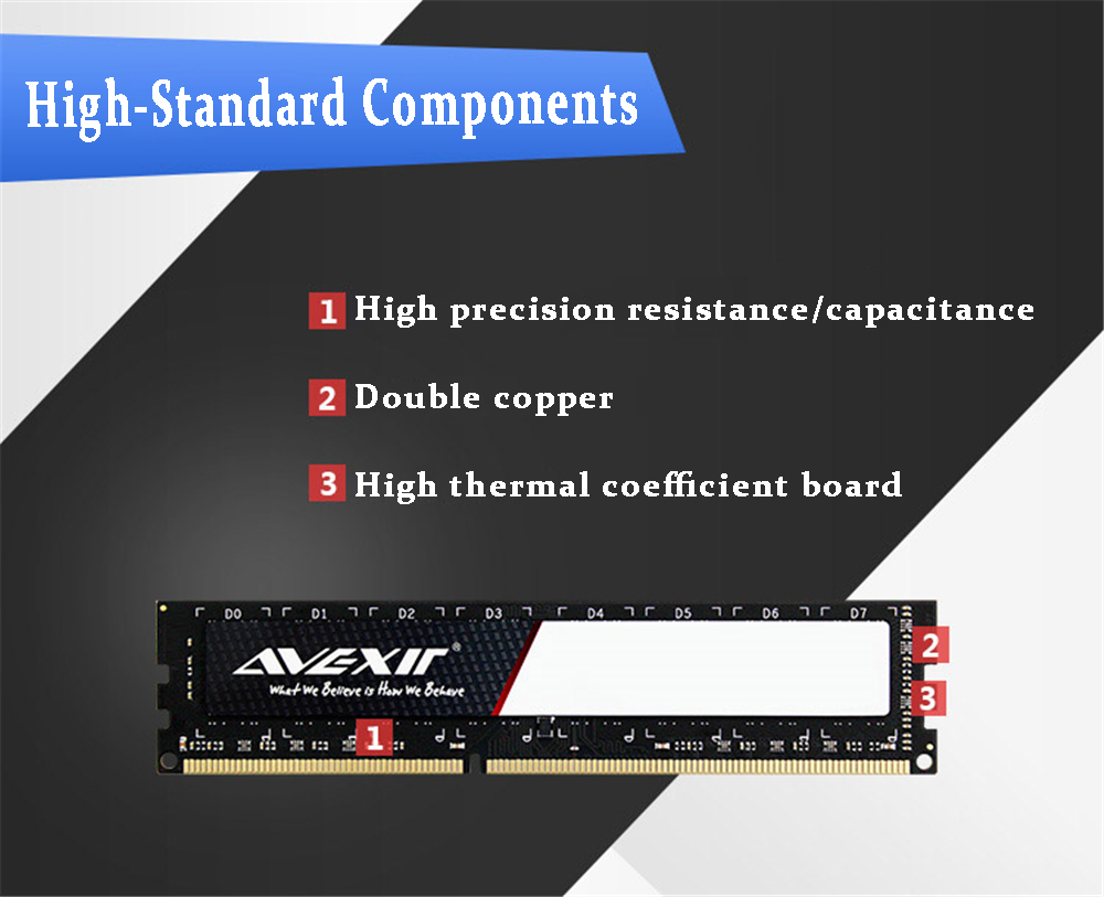 AVEXIR RAM DDR3 4GB / DDR3 8GB Memory Frequency 1600MHz 1.5V Desktop memory Interface Type 240pin 11-11-11-28 CL=11 Single RAMs 46