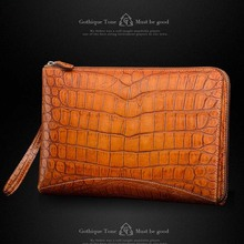 Gete new real crocodile skin belly handbags leather large capacity wrist bags rub golden crocodile leather men clutches