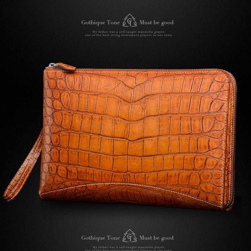 Gete new real crocodile skin belly handbags leather large capacity wrist bags rub golden crocodile leather men clutches maibomengnuo authentic crocodile skin wallet belly belly fashionable contracted men thin money clip upright money