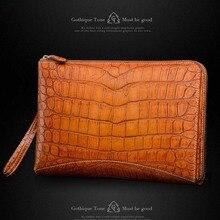 Gete new real crocodile skin belly handbags leather large capacity wrist bags rub golden crocodile leather