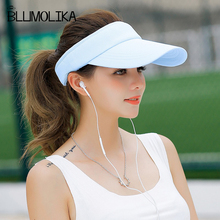 купить 2018 New Topless Tennis Caps Stylish Sun Hat for Women Fashion Beach Sports Sun Visor Hat Golf Caps for Summer Travel Outdoor по цене 259.87 рублей