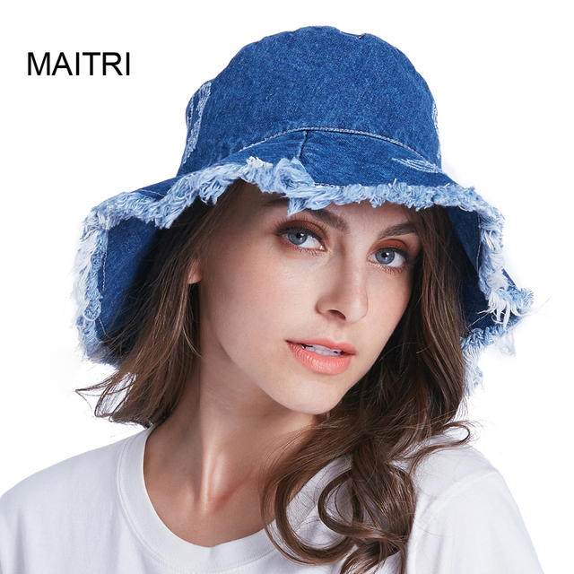 d8e04a8af68 MAITRI 2018 Spring Summer Washed Denim Bucket Hat Fashion Hole Shabby Brim Sun  Hat Women Men