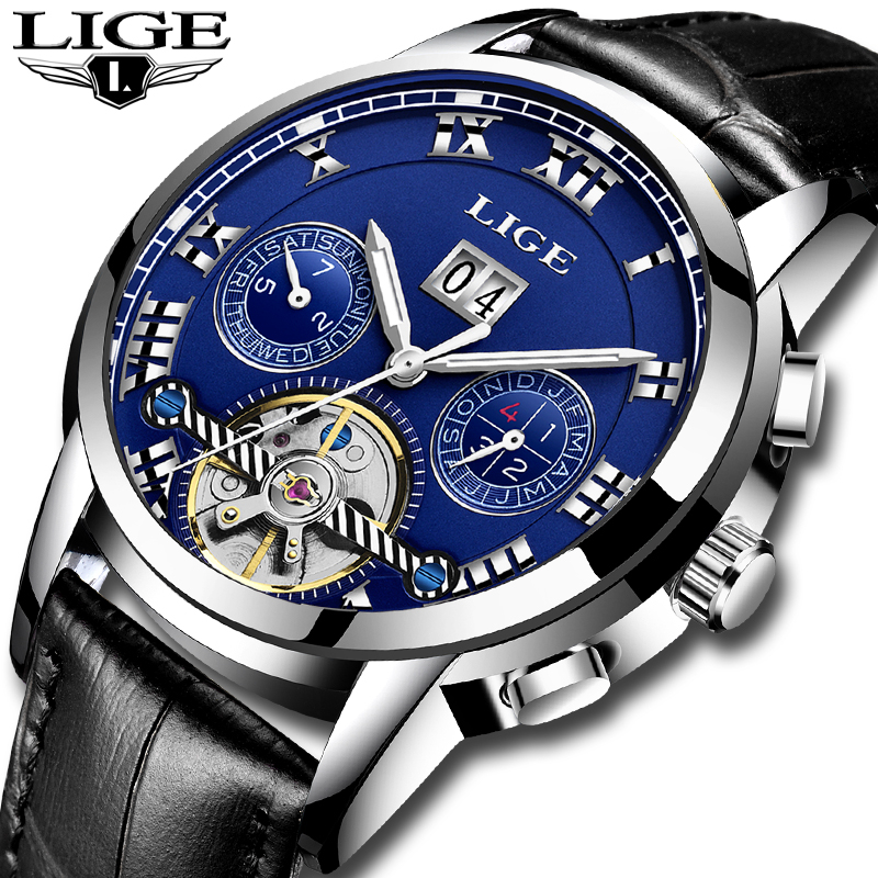 LIGE Mens Watches Top Brand Luxury Clock Automatic Mechanical Watch Men Casual Business Waterproof Wrist watch Relogio Masculin men watch top luxury brand lige men s mechanical watches business fashion casual waterproof stainless steel military male clock