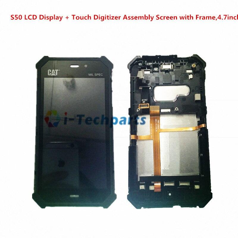 Оригинальный Новый OEM Cat S50 ЖК-дисплей Дисплей + сенсорный дигитайзер Ассамблеи Экран с рамкой, 4,7 дюйма