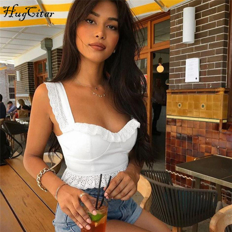 Hugcitar lace zipper patchwork spaghetti straps   tank     top   2018 women white solid slash neck sexy camis female fashion crop   tops