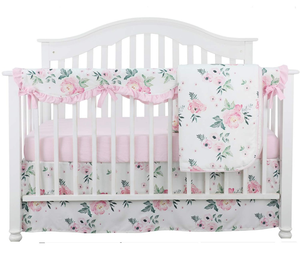 Sahaler 4PCS Crib Rail Guard Set Boho Floral Nursery Baby Bedding Ruffled Crib Skirt Crib Rail Cover Set (Pink Peony)