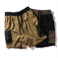 New men's summer multi pocket casual shorts Student cotton terry straight loose five pants