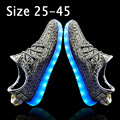 Size 25-45 Fly Weave Children LED Shoes Light Up Sneakers Kids Girls Light Shoes LED Slippers Basket Femme Luminous Glowing Shoe