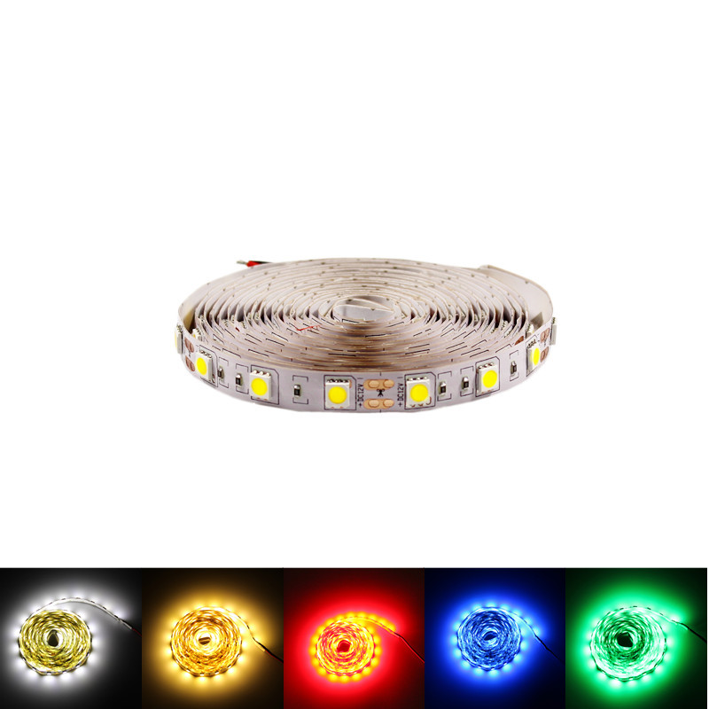 5m RGB 5050 LED Strip 12v Flexible light rope neon tape waterproof white warm red blue Holiday decoration Super bright