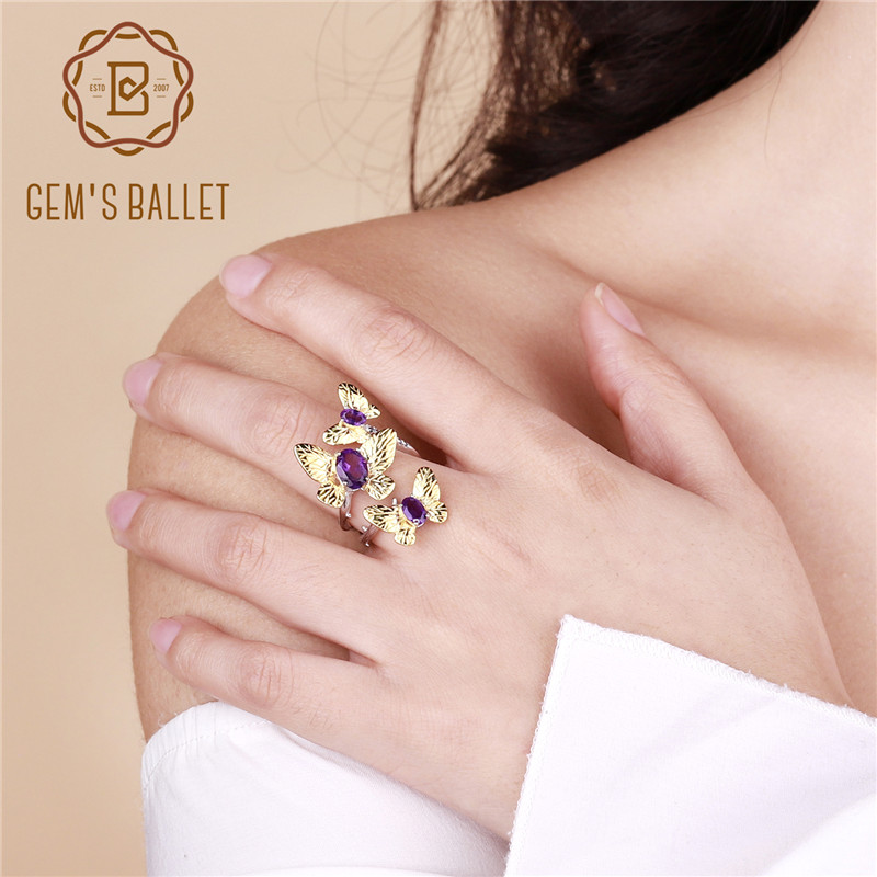 GEM'S BALLET 925 Sterling Silver Butterfly Gemstones Ring Fine Jewelry 2.04Ct Natural Amethyst Adjustable Open Rings for Women