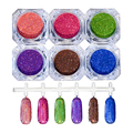 6Pcs Holographic Nail Glitter Laser Powder Nail Art Holo Glitters Powder Dust Chrome Pigments Shinny Nail Art Decorations Set