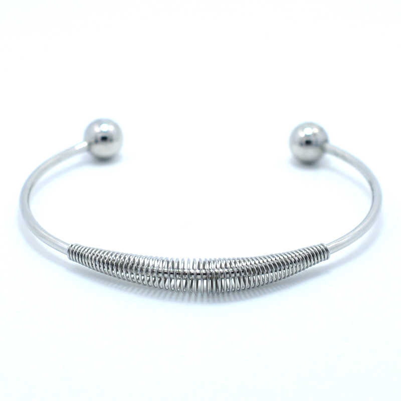 FYSARA Wholesale Circle Spring Bangle Cuff Bracelet Stainless Steel Gold-Color Bangle Couple Simple Jewelry DIY Bracelets