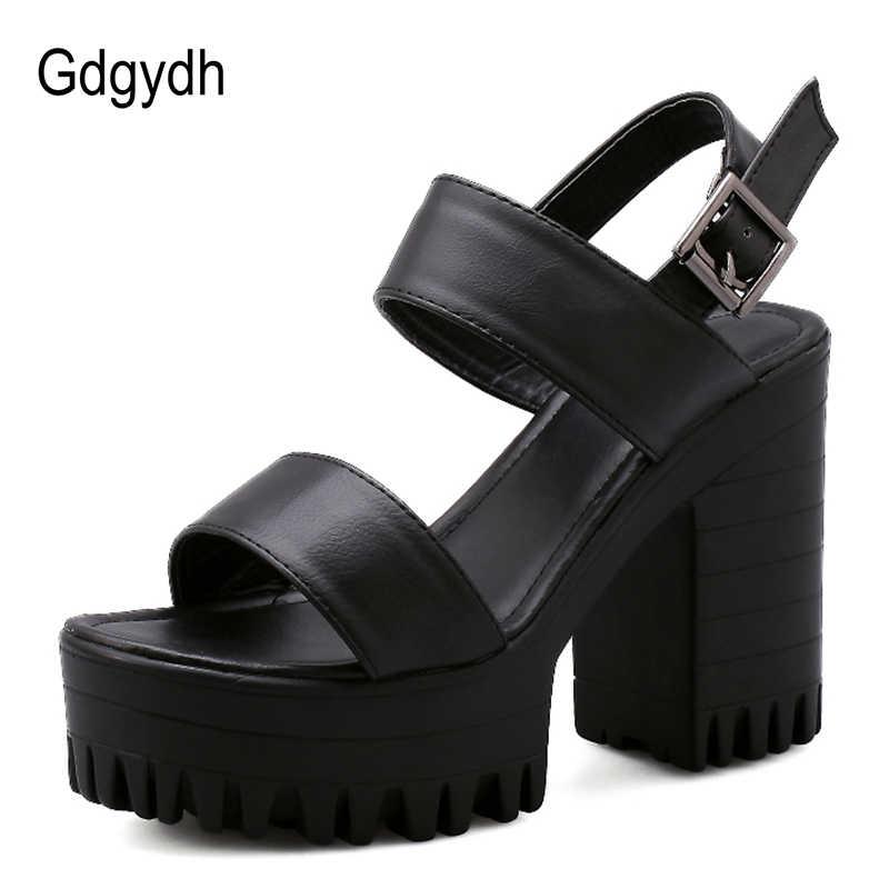 Gdgydh bloque tacones sandalias de verano Mujer clásicos zapatos casuales correa de tobillo sandalias de plataforma mujer 2019 nuevo verano negro blanco