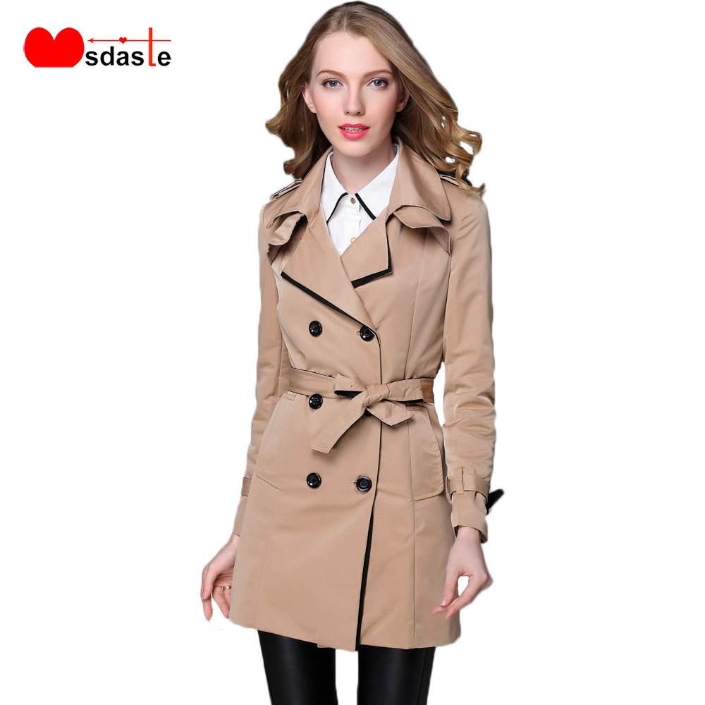 Trench   Coat Women 2019 Autumn Fashion New Double Breasted Belted Jaqueta Casacos Feminino Long Sleeve Casual Woman   Trench   Coats