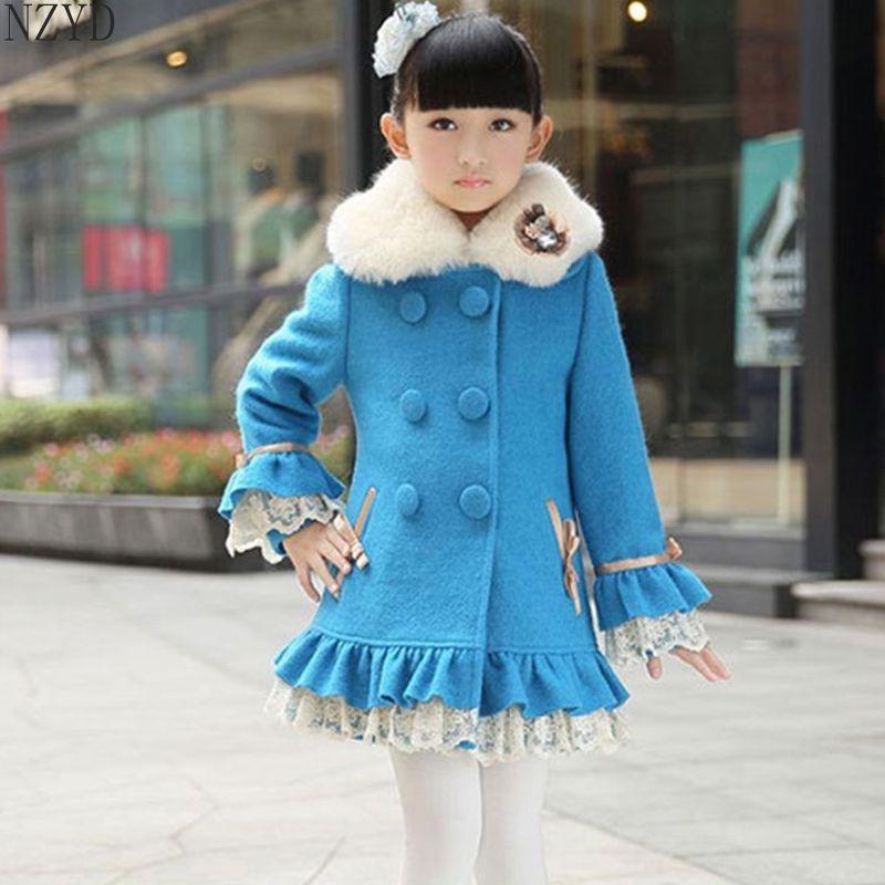 ФОТО Nova Fashion Winter Girls Woolen Cloth Coat Double-Breasted Lapels Long-Sleeved Coat Stitching Color Children Slim Coat HL0313