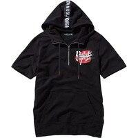 7XL 8XL 6XL High street half sleeve top tees t shirt Men T shirt simplicity casual summer hoodies hip hop have cap hooded black