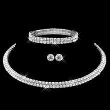 Elegantní dámský set s krystaly – náušnice, náramek a řetízek