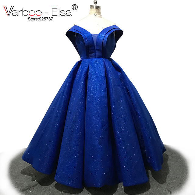 f62a541c662 VARBOO ELSA Luxury Glitter Royal Blue Evening Dress Sweetheart Backless  Prom Dresses 2018 Formal Party Ball Gown robe de soiree