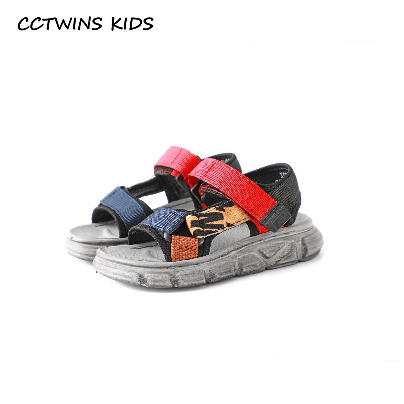 CCTWINS Kids Shoes 2019 Summer Girls Fashion Mixed Color Sandals Boys Beach Ribbon Flats Children Baby Soft Barefoot Shoes BS245